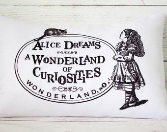 "Alice Ad  - 12 x 18"" Lumbar Cushion Pillow Cover Alice In Wonderland style - UK Handmade"