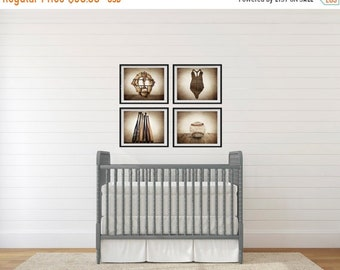 FLASH SALE til MIDNIGHT Set of Four Baseball Photo Prints, Vintage Baseball Nursery Decor, Baseball Wall art, Baseball prints