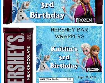 12 FROZEN ANNA ELSA Birthday Party Favors Candy Bar Hershey Bar Wrappers - We Print & Ship