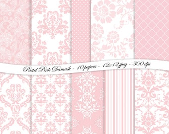 Pastel Pink Damask digital scrapbooking paper pack -10 printable jpeg papers, 12x12, 300 dpi - instant download