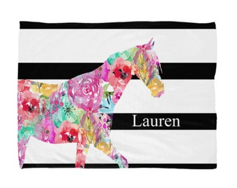 "Horse Blanket, Gifts for Horse Lover 50""x60"", 60""x80"", Watercolor Floral"