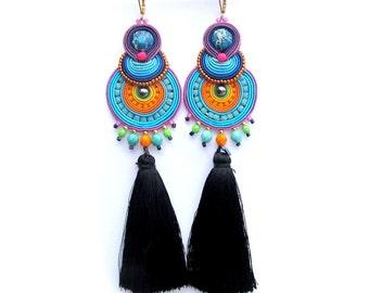Long Earrings Tassel, Colorful Earrings Soutache, Oriental Earrings, Dangle Earrings, Long Earrings, Fringe Earrings, Soutache Earrings