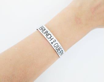 Personalized Bracelet // Custom Hand Stamped + Friendship Bracelet + Coordinate Bracelet + Mantra + Feminist Jewelry + Best Friends Gift