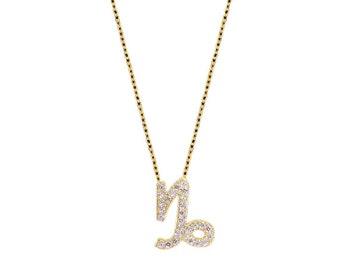 Pave Capricorn Necklace-Silver