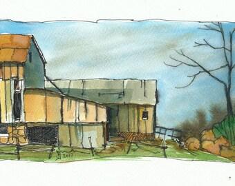 Set of 3 watercolour prints - Barns by Judit Szabo