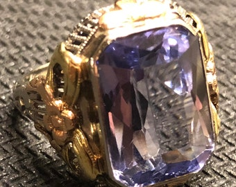 Antique/Estate Rose de France 18K Tri Color Gold Flower Filigree Amethyst Ring 6.1 Grams