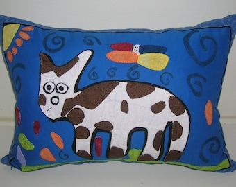 Kids Art Drawing Bed Pillow Case Sham Cover Embroidered  Applique Custom Made