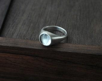 Transparent pale round Aquamarine silver ring
