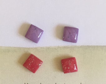 coral and lilac mini stud earrings small polymer clay studs resin studs nickel free earrings