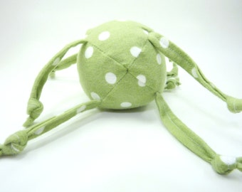 Soft Baby Toy - Ball with Strings - Polka Dots on Green