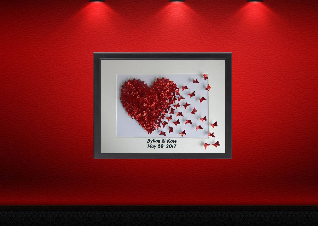 Unique personalised engagementwedding or anniversary gift in a 3d unique personalised engagementwedding or anniversary gift in a 3d box frame made with lots of glitter 3d butterfliesruby anniversary jeuxipadfo Choice Image