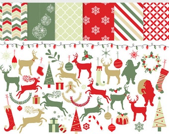 Christmas clip art and digital papers - deer clip art, reindeer, Santa, red, green, gold, festive, holiday, Christmas trees, lights, holly