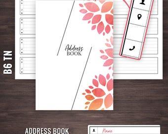 B6 Address Book, B6 TN Inserts, B6 Contacts List, B6 Travelers Notebook Inserts, B6 TN, Travelers Notebook B6 Inserts, B6 Contact Log