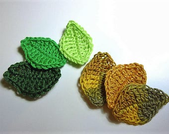 set of 6 crochet green and yellow leaves