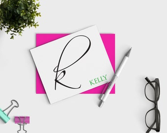 Personalized Stationery Notecards - Calligraphy Stationary - Custom Note Card Set
