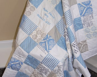 Custom Made Baby Shower Signature Quilt, Hand Quilted