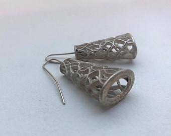Ribbon Earrings Silver Jewelry Drop Statement Oxidized Teardrop Wearable Art Organic Sterling Sculptural Dangle Contemporary