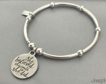 Sterling Silver Quote 'She Believed She Could So She Did' Charm Bracelet