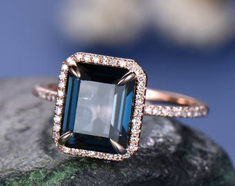 8x10mm London Blue topaz engagement ring-Solid 14k rose gold-Solitaire Infinity Ring-basketEmerald Cut gemstone promise ring for her-halo