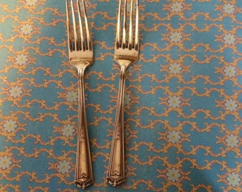 Two Fairfild Winfield Art Deco Rogers Silver Plate Forks