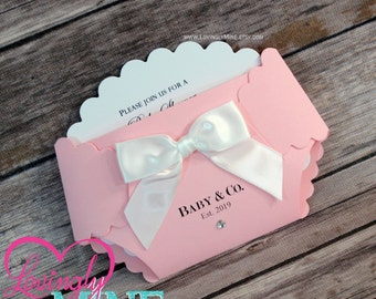 Customizable Diaper Shape Invitations | Set of 10 | in Pink and White | Custom Printed | Baby Girl Baby Shower Invites