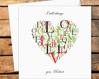 Personalised Happy Valentines Day Card Love Heart Word Art Cloud I Will Always Love You Handmade Printed