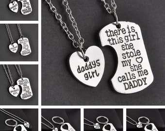Dad Gifts, Daddy's Girl, Necklace Keychain Set, Gifts for Child, There Is A Girl Who Stole My Heart, Mother Daughter, Grandpa Gift