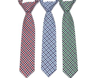 Tattersall Boys Necktie~Cotton Necktie~Wedding Tie~Boys Pretied Necktie~Plaid Necktie~Navy and Red~Kelly Green and Navy~Navy and Light Blue