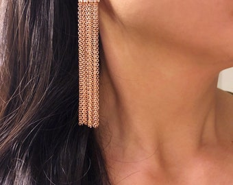 Rose gold triangle earrings rose gold chandelier earrings