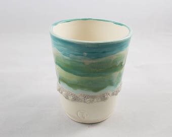 Visions of the Sea Collection:  Wheel Thrown Porcelain Cup, Tumbler