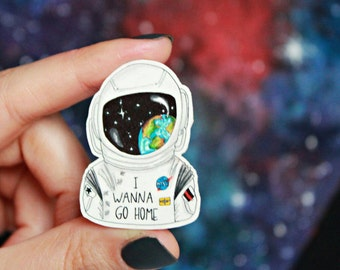 Astronaut Brooch // Spaceman Pin // Journey to Space Brooch // I Wanna Go Home