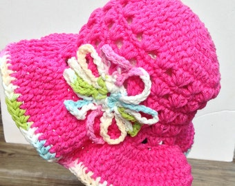 Summer hat, crochet cotton child hat, crochet pink hat with brim and flower on the side, girl sun hat, beach hat, girl accessories