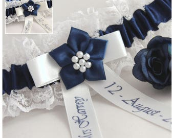 Personalised Bridal/Wedding Garter. Ivory or white lace with navy blue satin trim. Personalised with names & date.