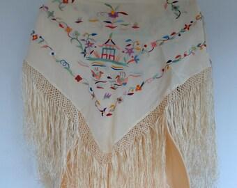 Vintage Shawl Asian Embroidered Mantone Flamenco 1960s Unworn Original Tag