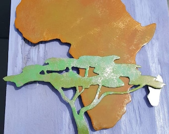 Africa Serengeti ,  Africa Acacia tree, Africa continent steel art display with custom paint