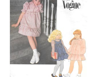 Girls Dress Jumper Sewing Pattern 6X Little Vogue 2725 Vintage