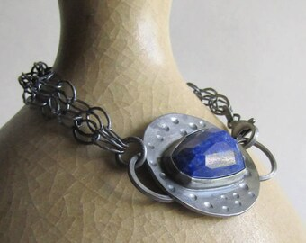 Lapis lazuli Chain Bracelet - Lapis Jewelry - Blue Stone and Oxidized Silver Bracelet - 25th Anniversary Gift