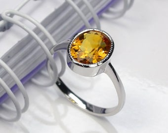 3.5 Natural citrine ring sterling silver wedding ring.