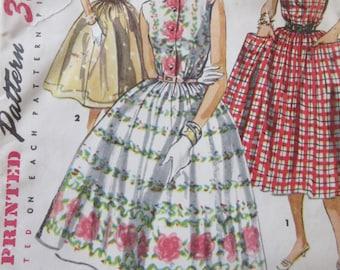 Vintage Simplicity 1084 Sewing Pattern, 1950s Dress Pattern, Rockabilly Dress Full Skirted Dress, Bust 30, 1950s Sewing Pattern, Big Pockets