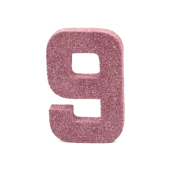 """8"""" Glitter Number 9, Paper Mache Number 9, Giant Blush Pink Number, Centerpiece Number Nine, Table Letters, Large Decorative Pink Birthday"""