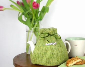 2 Cup Tea Cosy, small  tea cozy, Green tea cozy, made in Scotland, Tea drinkers Gift, knitted tea cosy, Mothers Day Gift, UK shop