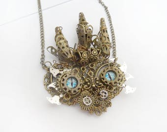 Steampunk dragon head necklace