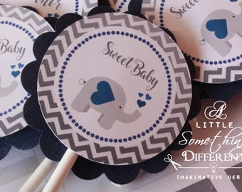 Navy Blue Elephant Cupcake Toppers / Navy Blue and Gray Chevron Cupcake Toppers / Navy Elephant Cupcake Toppers / Baby Shower