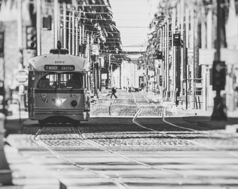 San Francisco Photography, Embarcadero Street Car Canvas Gallery Wrap, 16x20 or 20x24 Large Wall Art, Black and White Print