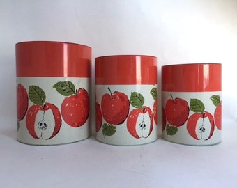 Terrific set of Three Nesting Japanese Tin Canisters with Apples