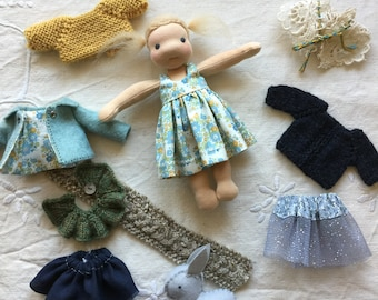 Waldorf doll and wardrobe, Waldorf doll clothes, Waldorf doll, doll outfit, doll wardrobe, ooak doll, handmade doll, doll and clothes, doll