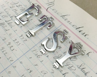 Vintage silverMetal letter charms - small metal alphabet charm - small silver letter pendant - monogram necklace charm - silver letter charm