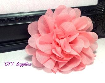 Fuschia chiffon scalloped flower diy headband fabric light coral chiffon scalloped flower diy headband fabric flowers wholesale flower hair mightylinksfo