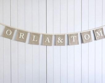 Personalised Name Wedding Bunting - Engagement Party Banner - Wedding Reception Bunting - Personalised Wedding Garland - Wedding Decorations