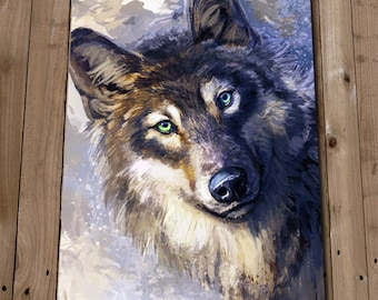 WOLF Wall Art Print Poster - Wall Decor - Wolf Painting Portrait - Animals - Nature Art - Dog - Gift Idea